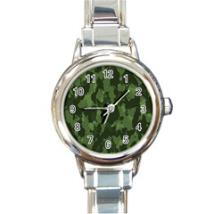 Camouflage Green Army Texture Round Italian Charm Watch
