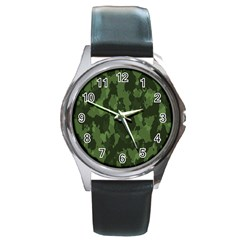 Camouflage Green Army Texture Round Metal Watch