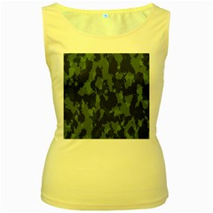 Camouflage Green Army Texture Women s Yellow Tank Top