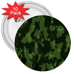 Camouflage Green Army Texture 3  Buttons (10 pack)