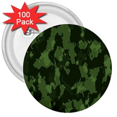 Camouflage Green Army Texture 3  Buttons (100 pack)
