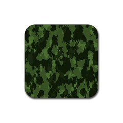 Camouflage Green Army Texture Rubber Square Coaster (4 Pack)