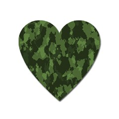 Camouflage Green Army Texture Heart Magnet