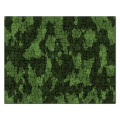 Camouflage Green Army Texture Rectangular Jigsaw Puzzl