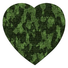 Camouflage Green Army Texture Jigsaw Puzzle (Heart)