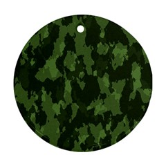 Camouflage Green Army Texture Round Ornament (Two Sides)