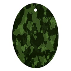 Camouflage Green Army Texture Oval Ornament (two Sides)
