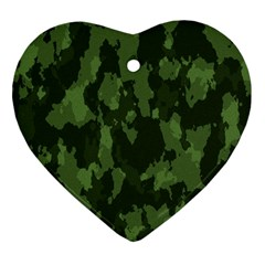 Camouflage Green Army Texture Heart Ornament (two Sides)
