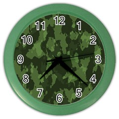 Camouflage Green Army Texture Color Wall Clocks