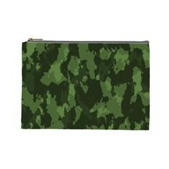 Camouflage Green Army Texture Cosmetic Bag (large)