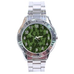 Camouflage Green Army Texture Stainless Steel Analogue Watch