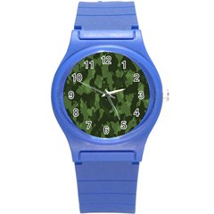 Camouflage Green Army Texture Round Plastic Sport Watch (S)