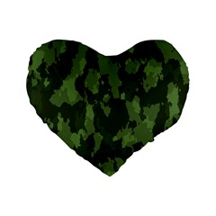 Camouflage Green Army Texture Standard 16  Premium Heart Shape Cushions
