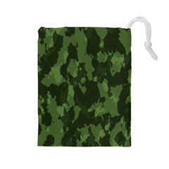 Camouflage Green Army Texture Drawstring Pouches (large)