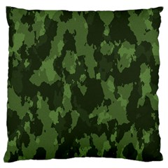 Camouflage Green Army Texture Large Flano Cushion Case (two Sides)