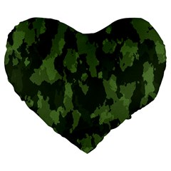 Camouflage Green Army Texture Large 19  Premium Flano Heart Shape Cushions