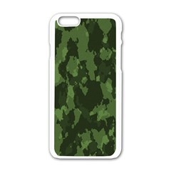Camouflage Green Army Texture Apple iPhone 6/6S White Enamel Case