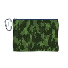 Camouflage Green Army Texture Canvas Cosmetic Bag (M)