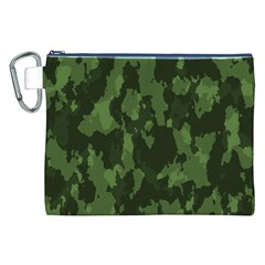 Camouflage Green Army Texture Canvas Cosmetic Bag (xxl)