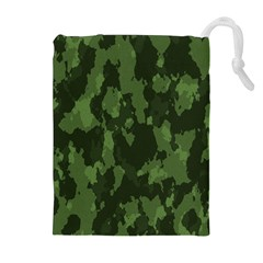 Camouflage Green Army Texture Drawstring Pouches (Extra Large)