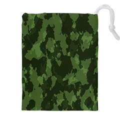 Camouflage Green Army Texture Drawstring Pouches (XXL)