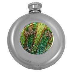 Chameleon Skin Texture Round Hip Flask (5 Oz)