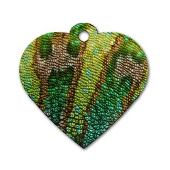 Chameleon Skin Texture Dog Tag Heart (two Sides)