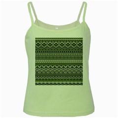Aztec Pattern Design Green Spaghetti Tank