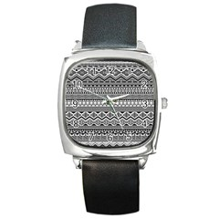 Aztec Pattern Design Square Metal Watch