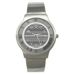 Aztec Pattern Design Stainless Steel Watch