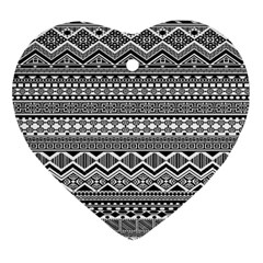 Aztec Pattern Design Heart Ornament (two Sides)