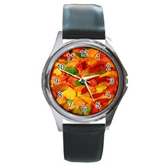 Leaves Texture Round Metal Watch