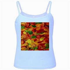 Leaves Texture Baby Blue Spaghetti Tank