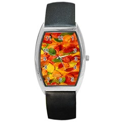 Leaves Texture Barrel Style Metal Watch