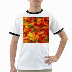 Leaves Texture Ringer T-Shirts
