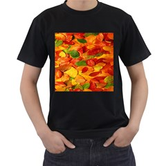 Leaves Texture Men s T-Shirt (Black) (Two Sided)