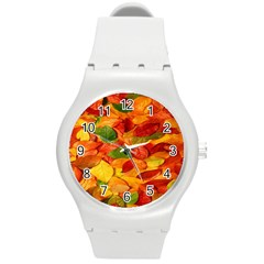 Leaves Texture Round Plastic Sport Watch (M)