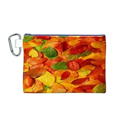 Leaves Texture Canvas Cosmetic Bag (m)