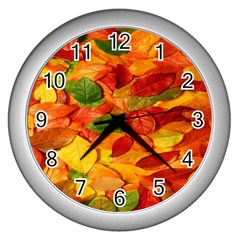 Leaves Texture Wall Clocks (Silver)