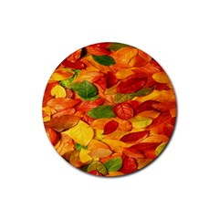 Leaves Texture Rubber Coaster (round)
