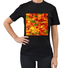 Leaves Texture Women s T-Shirt (Black) (Two Sided)