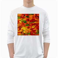 Leaves Texture White Long Sleeve T Shirts