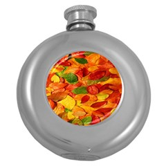 Leaves Texture Round Hip Flask (5 oz)