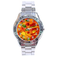 Leaves Texture Stainless Steel Analogue Watch