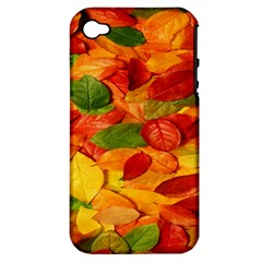 Leaves Texture Apple Iphone 4/4s Hardshell Case (pc+silicone)