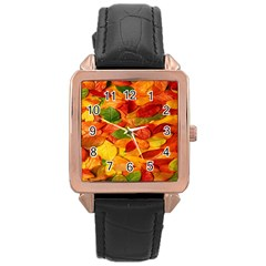 Leaves Texture Rose Gold Leather Watch