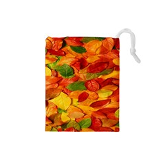 Leaves Texture Drawstring Pouches (small)