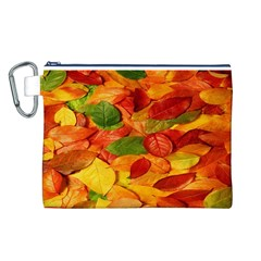Leaves Texture Canvas Cosmetic Bag (l)