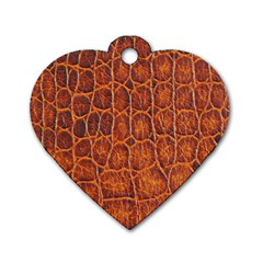Crocodile Skin Texture Dog Tag Heart (two Sides)