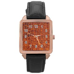 Crocodile Skin Texture Rose Gold Leather Watch